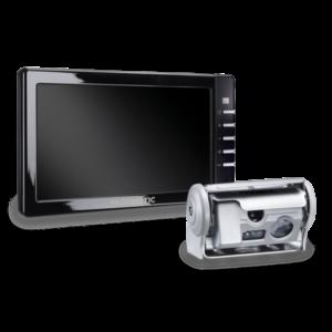 """Peruutuskamerajärjestelmä, jossa hopeanvärinen kaksoissuljinkamera ja 7"""" näyttö"""